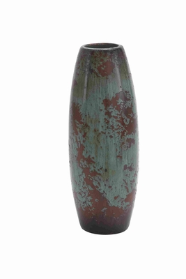 "Ceramic Round Shaped 17""H Vase with Red and White Unique Design Brand Woodland"