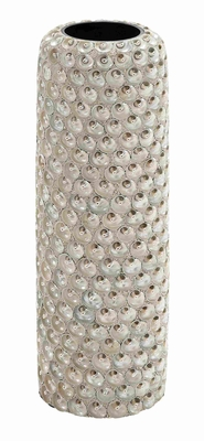 Ceramic Seashell Vase Durable and Weather Resistant in White Brand Woodland