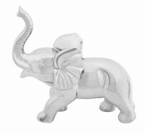 "Ceramic Solid 12"" Elephant Decor for Modern Look in Silver Brand Woodland"