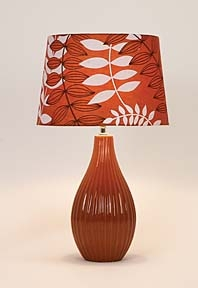 Ceramic Table Lamps with Orange Flora Shades - Set of 2 Brand Woodland