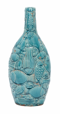 Ceramic Vase Blue Fish Nautical Vase With Great Flower Holding Capacity Brand Woodland