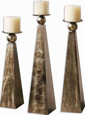 Cesano Candle Holder Set With Rustic Bronze Metal Finish Brand Uttermost