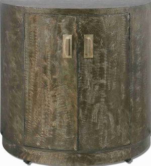 Cesano Curved Console Cabinet With Rustic Bronze Metal Brand Uttermost