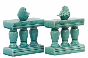 Charming & Adorable Ceramic Bird on Bannister BookendTurquoise