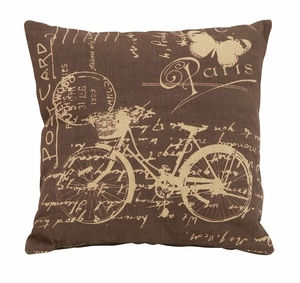 Charming Brown And Tan Paris Bicycle Themed Pillow Brand Woodland