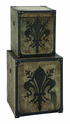Charming Fleur-de-Lis Storage Box Set With Aged Wood Brand Woodland