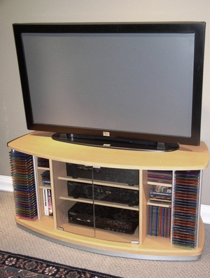 Charming Home Entertainment Stand with Glass Doors by 4D Concepts