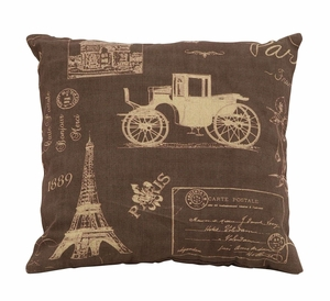 Charming Paris Life Themed Pillow With Brown And Tan Fabric Brand Woodland