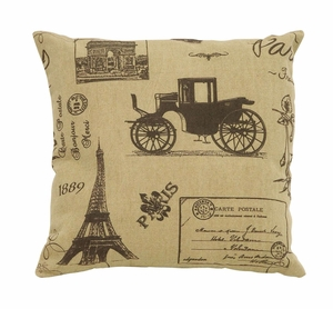 Charming Paris Life Themed Pillow With Tan And Brown Fabric Brand Woodland