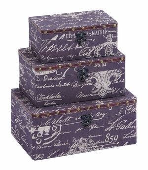 Charming Paris Lifestyle Storage Box Set With Leather Brand Woodland