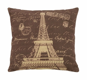 Charming Paris Lifestyle Themed Pillow With Brown And Tan Fabric Brand Woodland