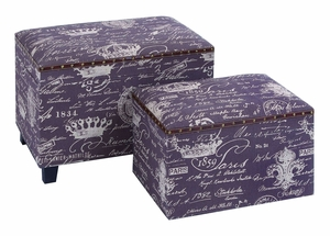 Charming Paris Themed Ottoman Set With Burlap And Leather Trim Brand Woodland