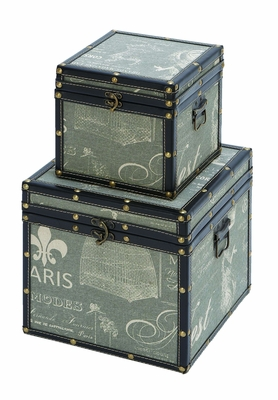 Charming Paris Themed Trinket Box Set With Blue Leather Brand Woodland