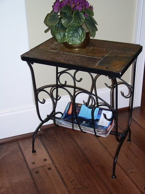 Charming Piece of Slate Magazine End Table by 4D Concepts