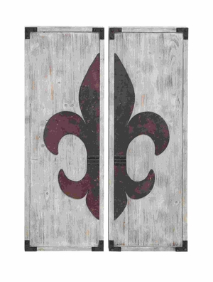 Charming Set of Fleur-de-Lis Themed Wall Plaque Decor Brand Woodland