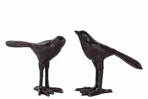 Charming Set of Two Resin Birds in Black