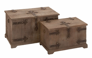 Charming Solid Wooden Chest Set With Iron Hinge and Locking Brand Woodland