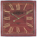 Charming Square Red Wooden Wall Clock with glass by Yosemite Home Decor