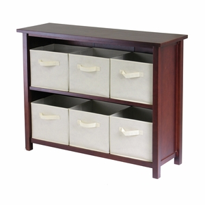 Charming Verona Walnut Finish 2 Tier Wooden Storage Shelf with 6 Baskets by Winsome Woods