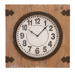 Charming Wall Clock - Iron Clock Set in Aged Wood Brand Woodland