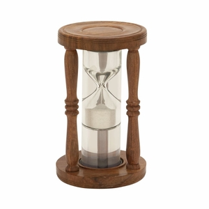 Charming Wood Glass Floating Sand Timer - 24534 by Benzara