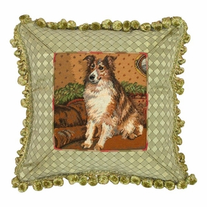 Checks Patterned Amazing Sheltie Petit Point Pillow by 123 Creations