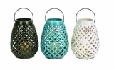 Checks Style Creative Glossy Ceramic Lantern 3 Assorted by Woodland Import