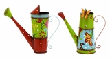Cheeky Pair of Bright And Colorful Watering Cans in Metal Brand Woodland