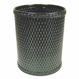 Chelsea Collection Decorator Color Round Wicker Wastebasket in Black by Redmon