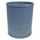 Chelsea Collection Decorator Color Round Wicker Wastebasket in Coastal Blue by Redmon