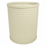Chelsea Collection Decorator Color Round Wicker Wastebasket in Cream by Redmon