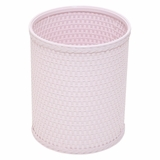 Chelsea Collection Decorator Color Round Wicker Wastebasket in Crystal Pink by Redmon
