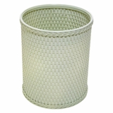 Chelsea Collection Decorator Color Round Wicker Wastebasket in Herbal Green by Redmon