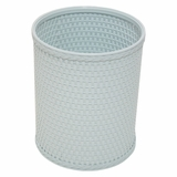 Chelsea Collection Decorator Color Round Wicker Wastebasket in Illusion Blue by Redmon