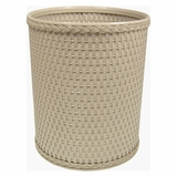 Chelsea Collection Decorator Color Round Wicker Wastebasket in Mocha by Redmon