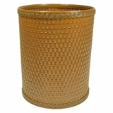 Chelsea Collection Decorator Color Round Wicker Wastebasket in Nutmeg by Redmon