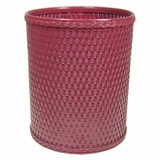 Chelsea Collection Decorator Color Round Wicker Wastebasket in Raspberry by Redmon