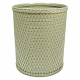 Chelsea Collection Decorator Color Round Wicker Wastebasket in Sage Green by Redmon