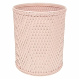 Chelsea Collection Decorator Color Round Wicker Wastebasket in Tea Rose by Redmon