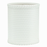 Chelsea Collection Decorator Color Round Wicker Wastebasket in White by Redmon