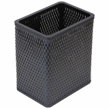 Chelsea Collection Decorator Color Square Wicker Wastebasket in Black by Redmon