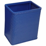 Chelsea Collection Decorator Color Square Wicker Wastebasket in Coastal Blue by Redmon