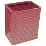 Chelsea Collection Decorator Color Square Wicker Wastebasket in Raspberry by Redmon
