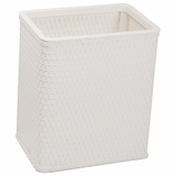 Chelsea Collection Decorator Color Square Wicker Wastebasket in White by Redmon