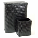 CHELSEA COLLECTION HAMPER AND MATCHING WASTEBASKET SET in Black by Redmon