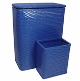 CHELSEA COLLECTION HAMPER AND MATCHING WASTEBASKET SET in Coastal Blue by Redmon