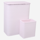CHELSEA COLLECTION HAMPER AND MATCHING WASTEBASKET SET in CRYSTAL PINK by Redmon