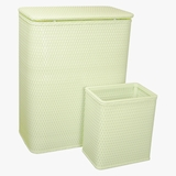 CHELSEA COLLECTION HAMPER AND MATCHING WASTEBASKET SET in HERBAL GREEN by Redmon
