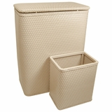 CHELSEA COLLECTION HAMPER AND MATCHING WASTEBASKET SET in MOCHA by Redmon