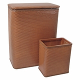 CHELSEA COLLECTION HAMPER AND MATCHING WASTEBASKET SET in NUTMEG by Redmon